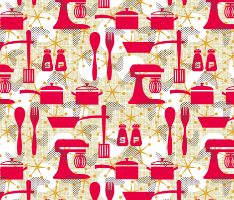 Really Retro Kitchen fabric by littlerhodydesign on Spoonflower - custom fabric
