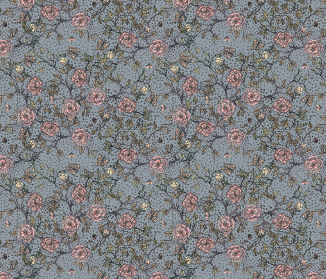 Memories of an Old Rose in Blue fabric by glimmericks on Spoonflower - custom fabric