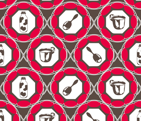 1920s Retro Kitchen Wallpaper (red on brown)  fabric by majobv on Spoonflower - custom fabric