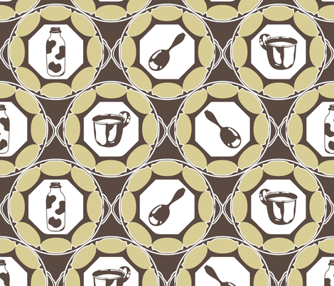 1920s Retro Kitchen Wallpaper (beige on brown)  fabric by majobv on Spoonflower - custom fabric