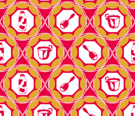 1920s Retro Kitchen Wallpaper (orange on red)  fabric by majobv on Spoonflower - custom fabric