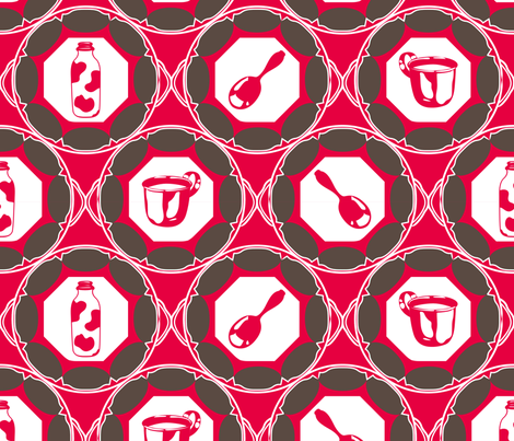 1920s Retro Kitchen Wallpaper (brown on red) fabric by majobv on Spoonflower - custom fabric