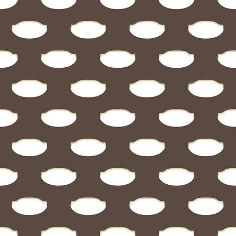 1920s Retro Kitchen Weird Pois (white/beige on brown) fabric by majobv on Spoonflower - custom fabric