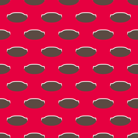 1920s Retro Kitchen Weird Pois (brown/white on red) fabric by majobv on Spoonflower - custom fabric