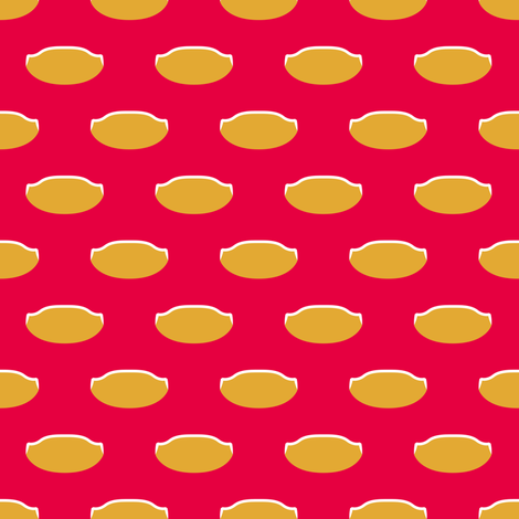 1920s Retro Kitchen Weird Pois (orange/white on red)  fabric by majobv on Spoonflower - custom fabric