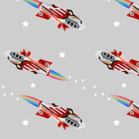 Rocket Racer and stars (1) fabric by rocket_and_bear on Spoonflower - custom fabric
