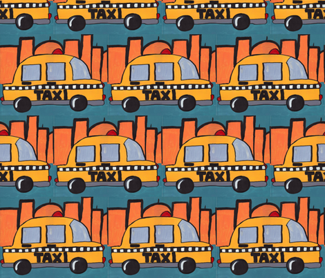 Big City Beep Beep - Taxi Traffic Jam fabric by sweetleighmama on Spoonflower - custom fabric