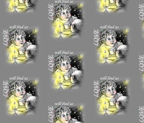 LoveWillFindUsWhiteText fabric by grandma_coco on Spoonflower - custom fabric