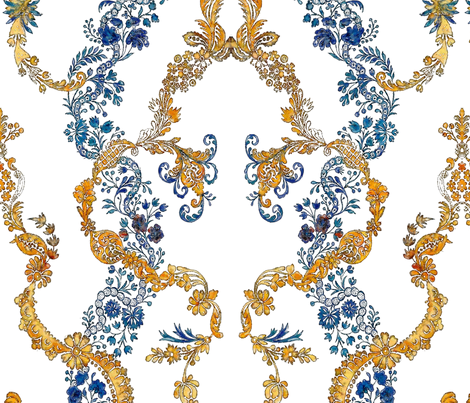Rococo vines blue and gold, c. 1729 fabric by bonnie_phantasm on Spoonflower - custom fabric