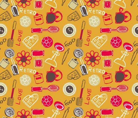 retro kitchen fabric by jlwillustration on Spoonflower - custom fabric