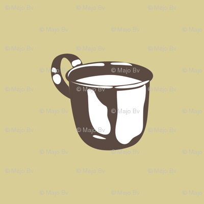 1920s Retro Kitchen Baby Cup (beige on brown)