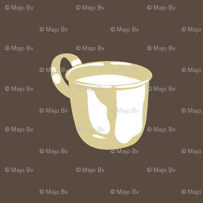 1920s Retro Kitchen Baby Cup  (beige on brown)