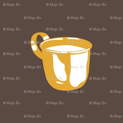 1920s Retro Kitchen Baby Cup (orange on brown)