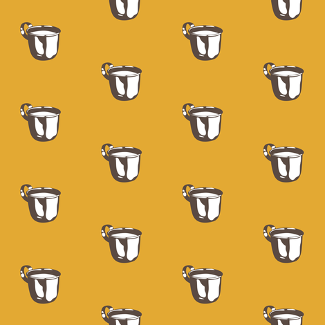 1920s Retro Kitchen Baby Cup (brown on orange) fabric by majobv on Spoonflower - custom fabric