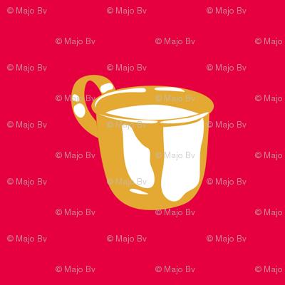1920s Retro Kitchen Baby Cup (orange on red)