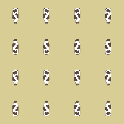 1920s Retro Kitchen Milk Bottle (brown on beige)  fabric by majobv on Spoonflower - custom fabric