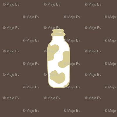 1920s Retro Kitchen Milk Bottle (beige on brown)