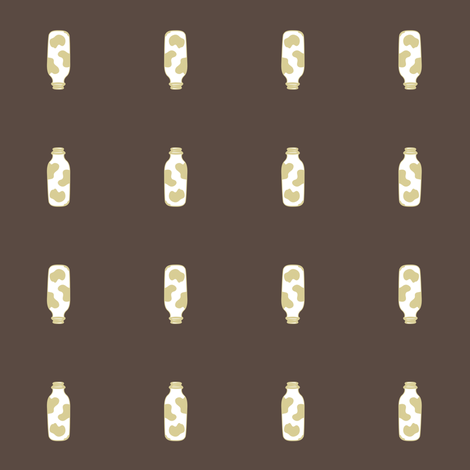 1920s Retro Kitchen Milk Bottle (beige on brown) fabric by majobv on Spoonflower - custom fabric