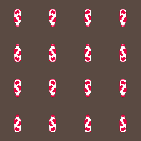 1920s Retro Kitchen Milk Bottle (red on brown)  fabric by majobv on Spoonflower - custom fabric