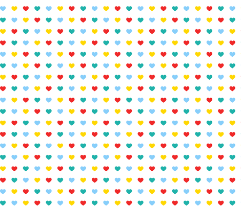 Multicoloured hearts fabric by pininkie on Spoonflower - custom fabric