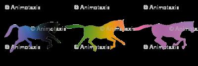 Galloping Rainbow Horses, L