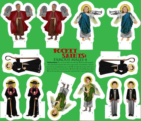 Pocket Saints Famous Males 4 Catholic cut and sew dolls fabric by magneticcatholic on Spoonflower - custom fabric
