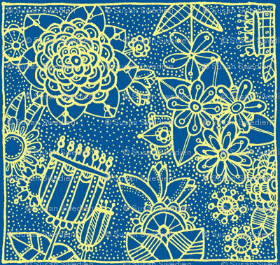 floral square blue and yellow