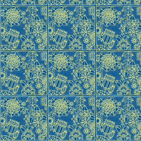floral square blue and yellow fabric by susan_swedien on Spoonflower - custom fabric
