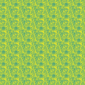floral square yellow and blue