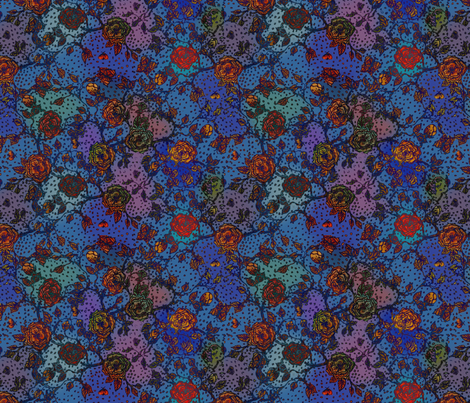 Memories of an Old Rose - Jazz Blues fabric by glimmericks on Spoonflower - custom fabric