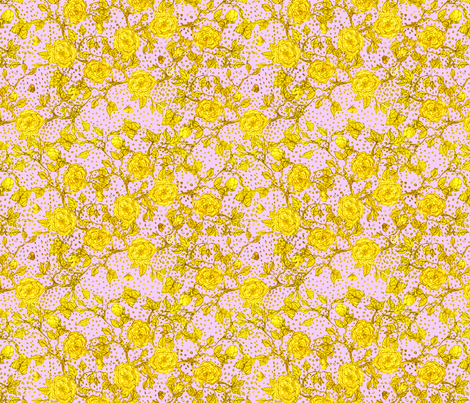 Memories of an Old Rose - Golden Glows fabric by glimmericks on Spoonflower - custom fabric