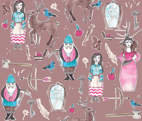 Snow White on Brown fabric by nightgarden on Spoonflower - custom fabric
