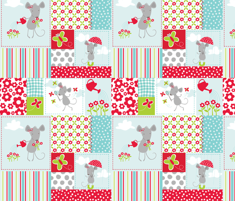 Milly Mouse Rain Patchwork fabric by bzbdesigner on Spoonflower - custom fabric