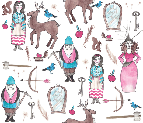 Snow White on White fabric by nightgarden on Spoonflower - custom fabric