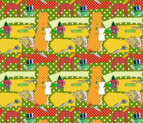 couture oh couture vert pomme fabric by nadja_petremand on Spoonflower - custom fabric