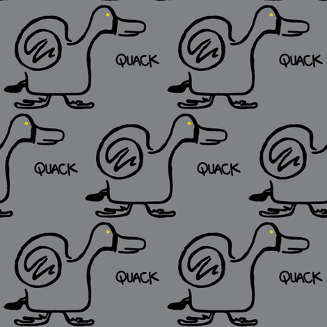 Quack Attack (light grey) fabric by christine_wichert_arts on Spoonflower - custom fabric