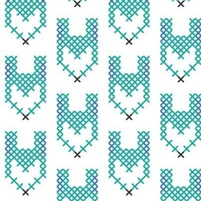Cross Stitch Teal Fox