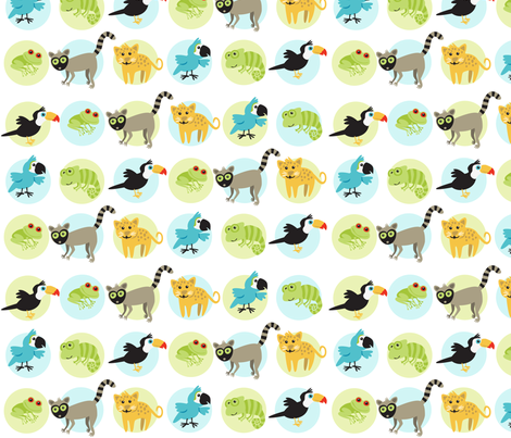 Rainforest Babies Over Dots fabric by bzbdesigner on Spoonflower - custom fabric