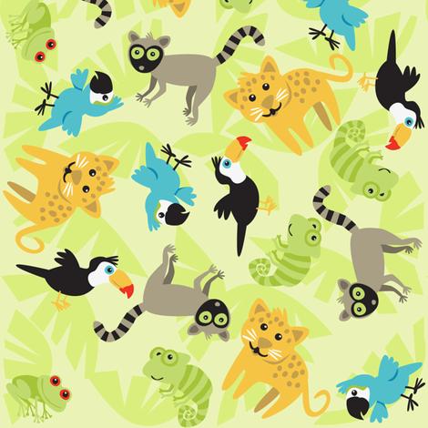 Rainforest Babies Toss fabric by bzbdesigner on Spoonflower - custom fabric