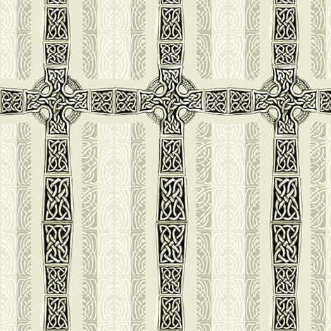 Lindisfarne Cross   fabric by wren_leyland on Spoonflower - custom fabric