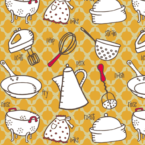 Modern tools for the Retro Kitchen! (Retro-kitchen, palette-restricted) fabric by pattyryboltdesigns on Spoonflower - custom fabric