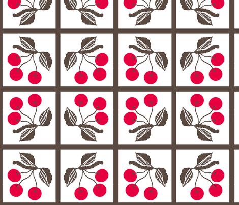 cherry retro/ tile fabric by paragonstudios on Spoonflower - custom fabric