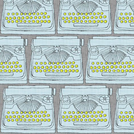 Typewriter Light Blue fabric by maker_maker on Spoonflower - custom fabric