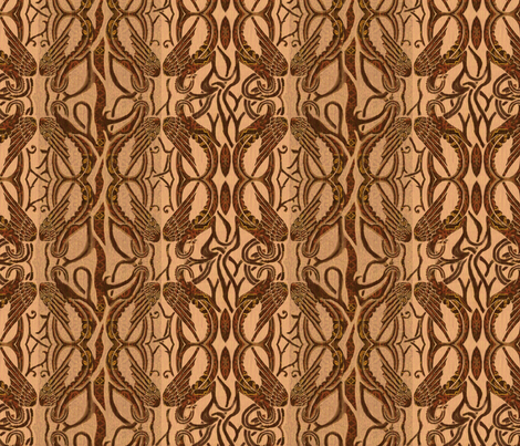 Brown Celtic wings fabric by wren_leyland on Spoonflower - custom fabric