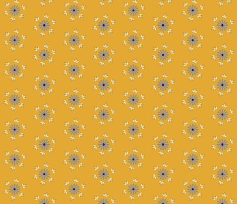 BerryFlower -Gold fabric by leahvanlutz on Spoonflower - custom fabric