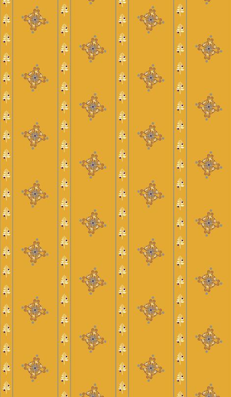BerryFlowerStripeGold fabric by leahvanlutz on Spoonflower - custom fabric