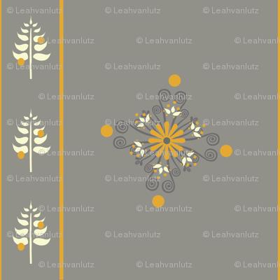 Berry Flower Stripe - Golden Gray