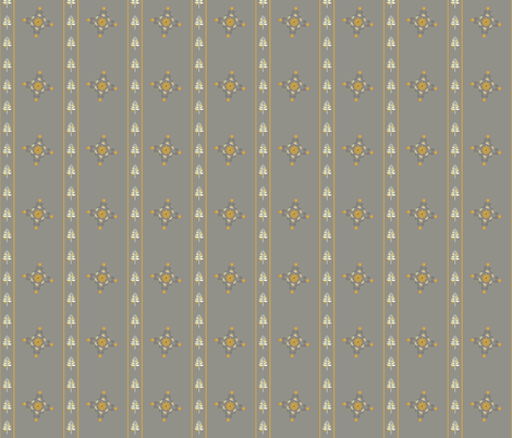 Berry Flower Stripe - Golden Gray fabric by leahvanlutz on Spoonflower - custom fabric