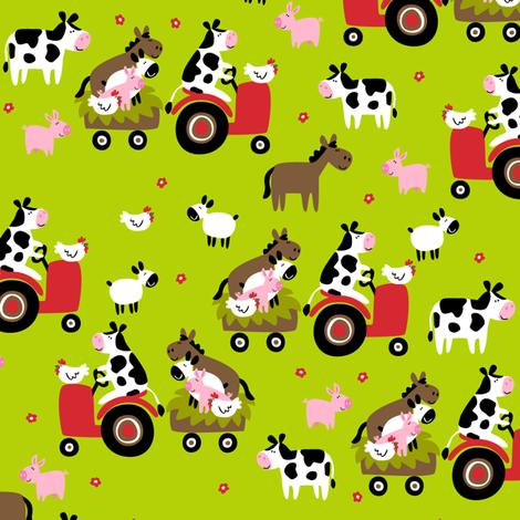 Farmtasia Friends Green fabric by bzbdesigner on Spoonflower - custom fabric