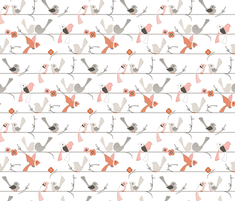 Wake Up Call - Birds On A Line fabric by ttoz on Spoonflower - custom fabric